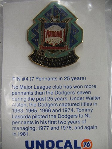 Club Pennant - LA Dodgers Baseball The National League Club Seven Pennants Pin #4 NEW* UNOCAL76