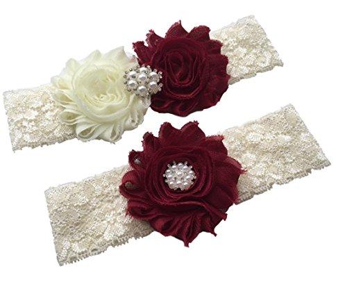 Daddasprincess Wedding Garter Ivory Bridal Lace Plus Size Garter Something Blue (S:14-18 inches, Burgundy)