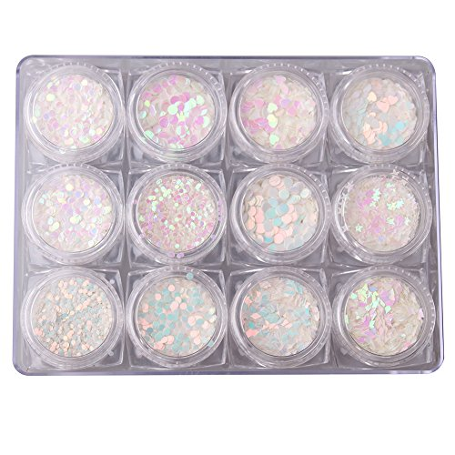 - WOKOTO 12 Jars Multishapes Nail Glitter Sequins Paillette Shell Nail Glitter Holographic Flakies Star Heart Pearl Nail Art Decorations