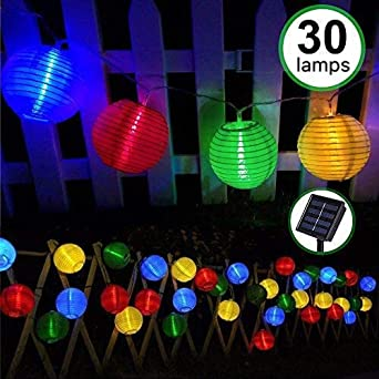 Guirnaldas de Luces Solar Jardín LED Bawoo 30 LED Guirnaldas Luces Exterior 5,5m Impermeable IP65 Guirnalda Luces Decoración Exterior y Interior Luz Navidad Fiesta Ceremonia Jardín Casa (Multicolor): Amazon.es: Iluminación