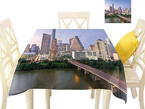 Angoueleven Modern,Desk Cloth Austin Texas American City Bridge Over The Lake Skyscrapers USA Downtown Picture,Tablecloth Party Wedding W 54