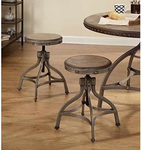 Simple Living Decker Distressed Wood Pewter Metal Adjustable Height Swivel Stool With Nailhead Set of 2