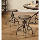 Simple Living Decker Distressed Wood/Pewter Metal Adjustable Height Swivel Stool With Nailhead (Set of 2) Review