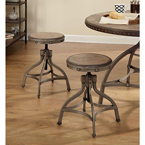 Simple Living Decker Distressed Wood Pewter Metal Adjustable Height Swivel Stool With Nailhead Set of 2