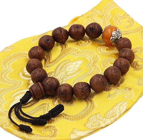 tibetan-buddhist-old-bodhi-seed-wrist-mala-bracelet-amber-accent-14-beads