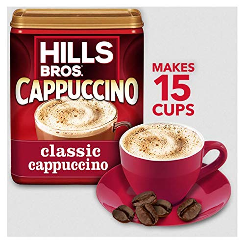 Hills Bros. Instant Cappuccino Mix, Classic Cappuccino Mix - Easy to Use and Convenient, Enjoy Coffeehouse Flavor at Home - Frothy, Decadent Cappuccino with a Hint of Sweetness (14 Ounces)