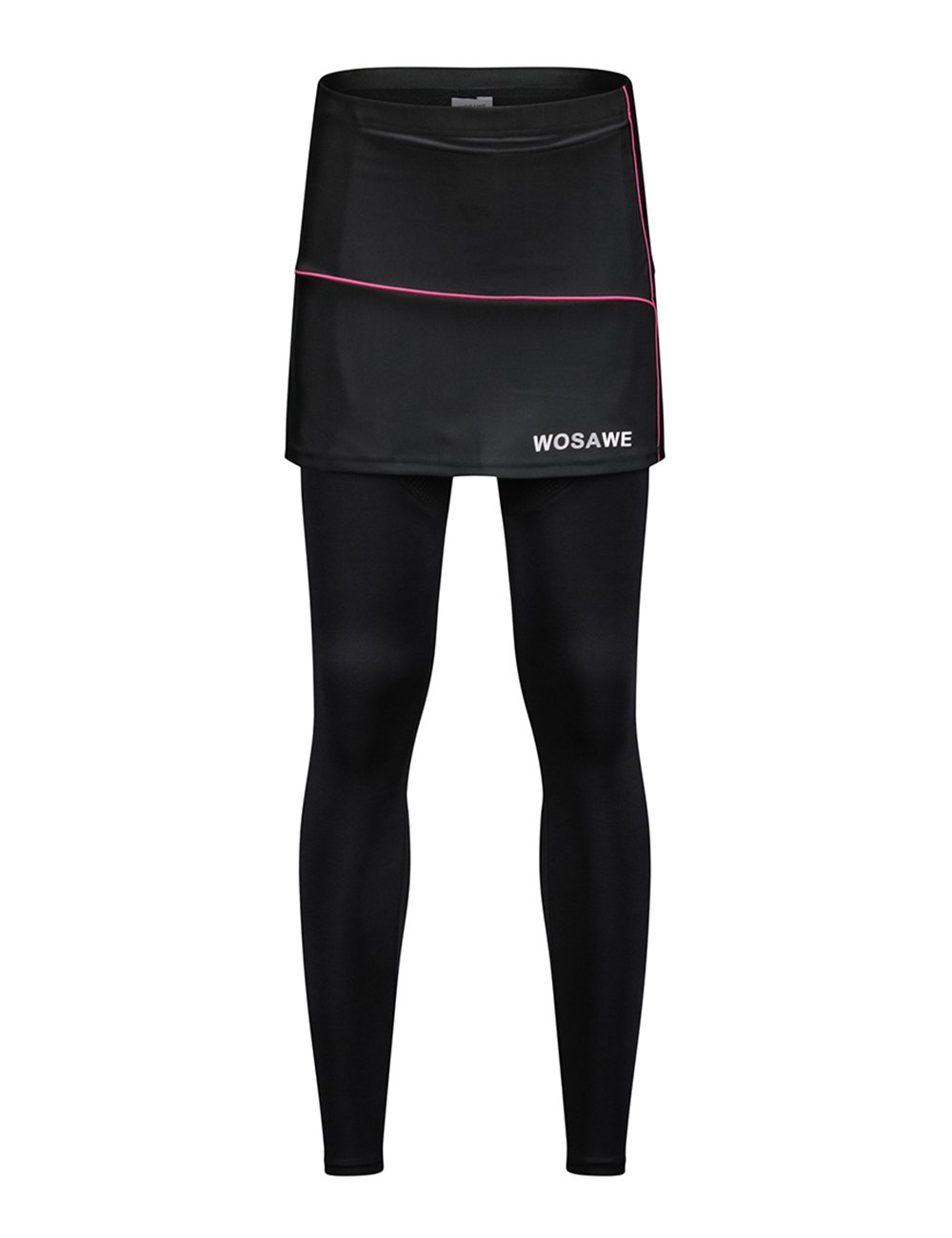 WOSAWE Women's Cycling Skirted Pants Bicycle Skort with Compression Leggings, M Black by WOSAWE