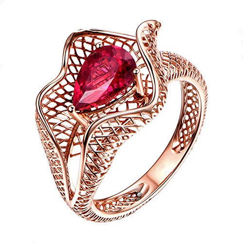 - Red Tourmaline Ring 18ct Rose Gold Ring Gorgeous Natural Tourmaline Eternity Statement Jewellery Ring,T1/2