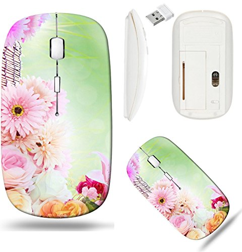 Liili Wireless Mouse White Base Travel 2.4G Wireless Mice with USB Receiver, Click with 1000 DPI for notebook, pc, laptop, computer, mac book beautiful lilly gerber roses flower bouquet arrangement wi