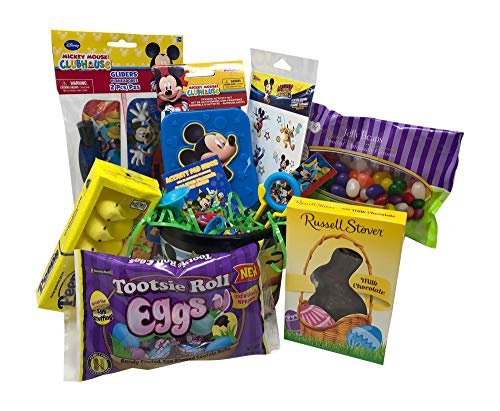 (Mickey Mouse Club House Easter Basket Pre Filled with Easter Candy, Easter Toys, Easter Basket Filler, and Easter Basket Grass | Great for Kids, Boys and)