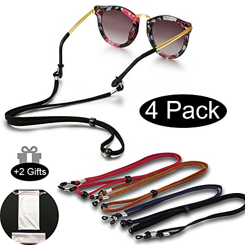 Eyeglasses Holder Strap Cord With SUEDE LEATHER Eyeglass Retainer With 2 Gifts Glasses Bag And - Eyeglass Cord Leather