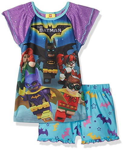 LEGO Batman Big' Girl's Batgirl 2 Pc Pj Short and Sheer Sleeve Top