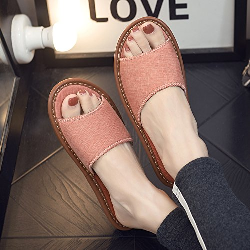 fankou Home Interior Floor Thick Linen Cool Slippers Home with Anti-Slip Away Sweat in The Summer of Men and Ladies Slippers,35-36, Light Orange