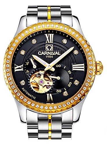 Diamond Gold Dial Black (Carnival Diamond Watches Men's Automatic Mechanical Skeleton Watch White Or Black Dial Waterproof Watch (Silver Gold Black))