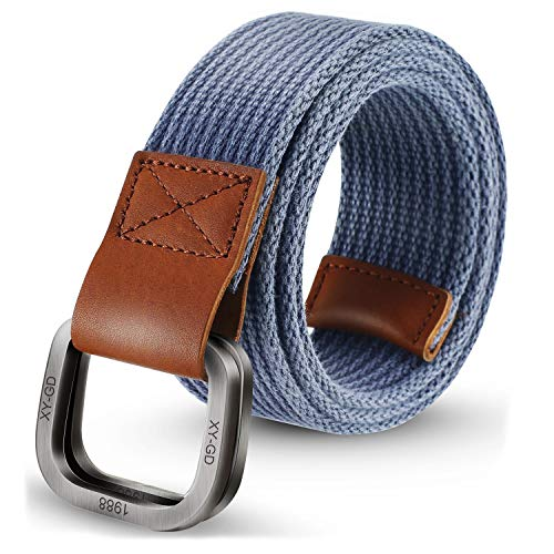 ITIEZY Men's Canvas Belt Military Style Double D-Ring Buckle Casual Webbing Belt ()