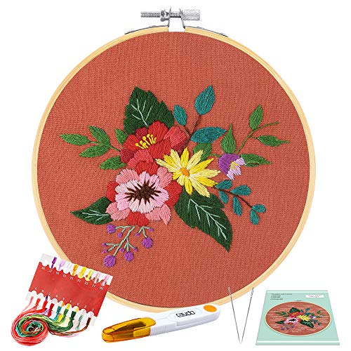 Caydo Full Range Embroidery Starter Kit with Pattern and Instructions, Embroidery Clothes with Floral Pattern, Bamboo Embroidery Hoops, Color Threads and Tools (Orange)