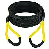 """VULCAN 1/2"""" x 20' Off-Road Double Braided Recovery Rope – 7,400 lbs. Breaking Strength – Grey, Black"""