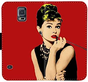 Audrey Hepburn M0S4M Funda Samsung Galaxy Note caja de la carpeta de cuero Funda 4 bhTQ25 caso del tirón del teléfono fundas de forma genérica