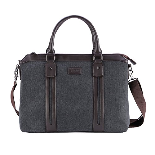Ahyapiner Canvas Briefcase Large Messenger Bag Multifunctional Satchel Bag Fits 15-inch Laptop
