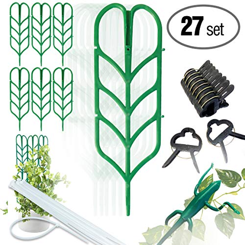 PeerBasics, Indoor Plant Trellis Bundle Pack, 6 Climbing Garden Leaf Shape Supports, 10 Large Flower Lever Loop Gripper Clips, 10 Zip Ties For DYI Climbing Stems Stalks Vines Vegetable Potted - Vine Garden