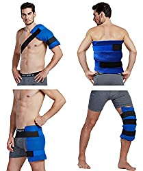 "Koo-care Large Flexible Gel Ice Pack & Wrap With Elastic Straps For Hot Cold Therapy - Great For Sprains, Muscle Pain, Bruises, Injuries - 11"" X 14"")"