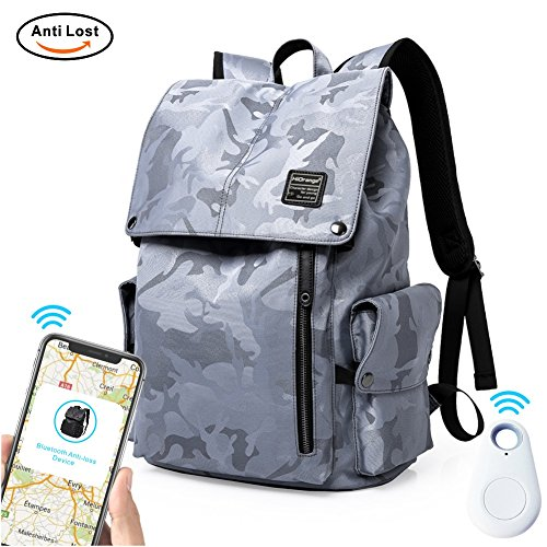 Laptop Outdoor Backpack, Travel Hiking& Camping Waterproof Pack with Bluetooth Anti-Loss Device, Casual Large College School Daypack, Shoulder Book Bags Back Fits 15'' Laptop & Tablets (Grey Camo) by HiOrange