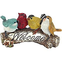 Design Toscano Birdy Welcome Sign Garden Bird Statue, 10 Inch, Polyresin, Full Color