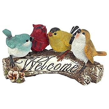 Design Toscano Birdy Welcome SignGarden Bird Statue, 10 Inch, Polyresin, Full Color