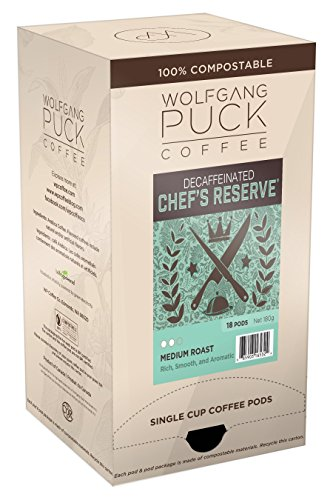 Wolfgang Puck Coffee, Chef's Reserve Decaf Coffee, 9.5 Gram Pods, (Pack of 3)