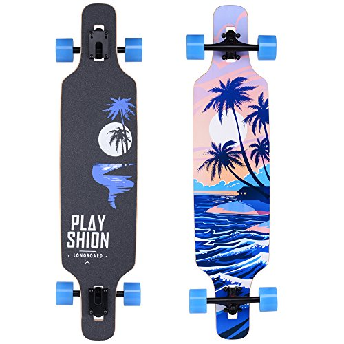Playshion Freeride Freestyle Drop Through Longboard Skateboard Complete 39 Inch (Longboard Heat)