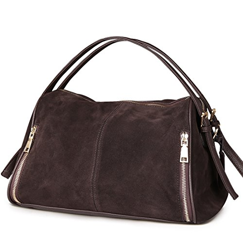 Nico Louise Women Boston Bag Genuine Suede Leahter Shoulder Travel Bag Casual Handbag (Deep Coffee) from Nico Louise