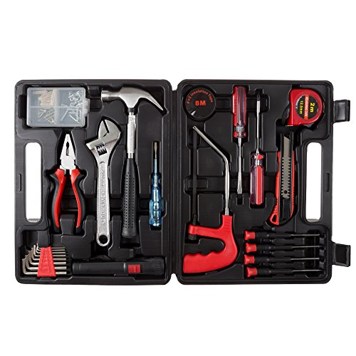 Household Hand Tools, 65 Piece Tool Set by Stalwart, Set Includes - Hammer, Adjustable Wrench, Screwdriver Set, and Pliers - Great for DIY Projects