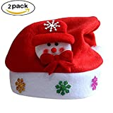 2 Pack Children Christmas Party Hat Festive Holiday Traditional Xmas Gifts Cap For Kids (Snowman)