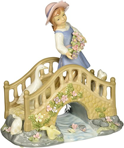 Cosmos 80021 Idle Time Girl on Bridge Ceramic Figurine, 8-1 2-Inch