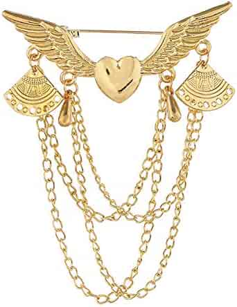 66711157cf3 ink2055 Retro Angel Wing Heart Shirt Suit Collar Tip Lapel Brooch Pin with  Chain Tassel