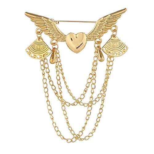 Brooch Pin, gLoaSublim Retro Angel Wing Heart Shirt Suit Collar Tip Lapel Brooch Pin with Chain Tassel - Golden - Golden Heart Brooch