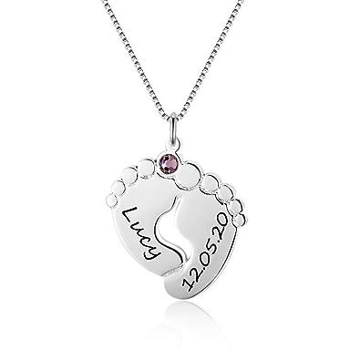 XiXi Collar Personalizado con Nombre Del Pie Del Bebé Collares Mujer plata Grabado 2 Nombre Collar para Madre Cumpleaños Navidad Joyería