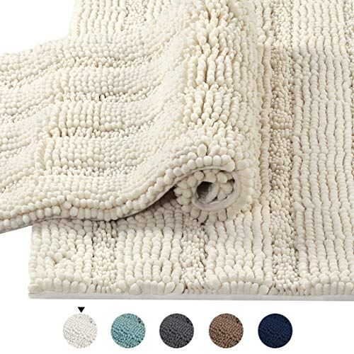 2 Size Super Thick Soft Striped Shaggy Microfiber Bath Mat Floor Rugs Machine Washable Bath Rugs Set for Bathroom/Kitchen Dry Fast Water Absorbent Bedroom Area Rugs, Ivory (Pack 2-20