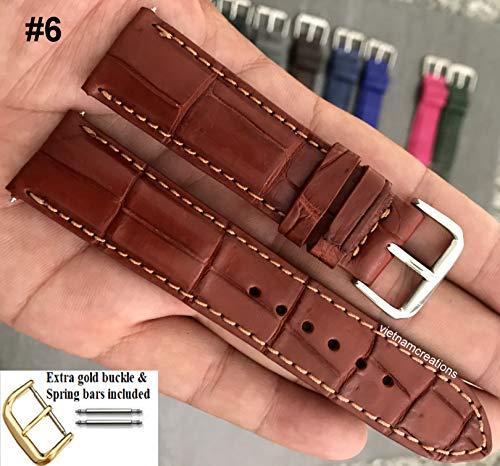 20mm Genuine CROCODILE/ALLIGATOR Skin Leather Watch Strap Band for men Handmade (20mm, 06 Brown)