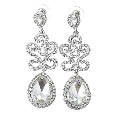 Full Cubic Zirconia Tears Earrings Colorful CZ Crystal Teardrop Dangle Bridal Jewelry Fashion Earrings, 6.3 cm Length (Crystal)