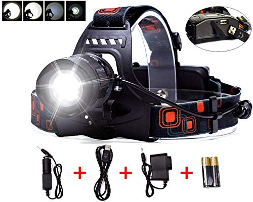 LIGHTESS LED Head Lamps Waterproof Headlamps Zoomable Head Light Rechargeable Torch Lights 5 Modes XM-L2 with USB Output Power Bank Function for Camping, Hunting, Hiking