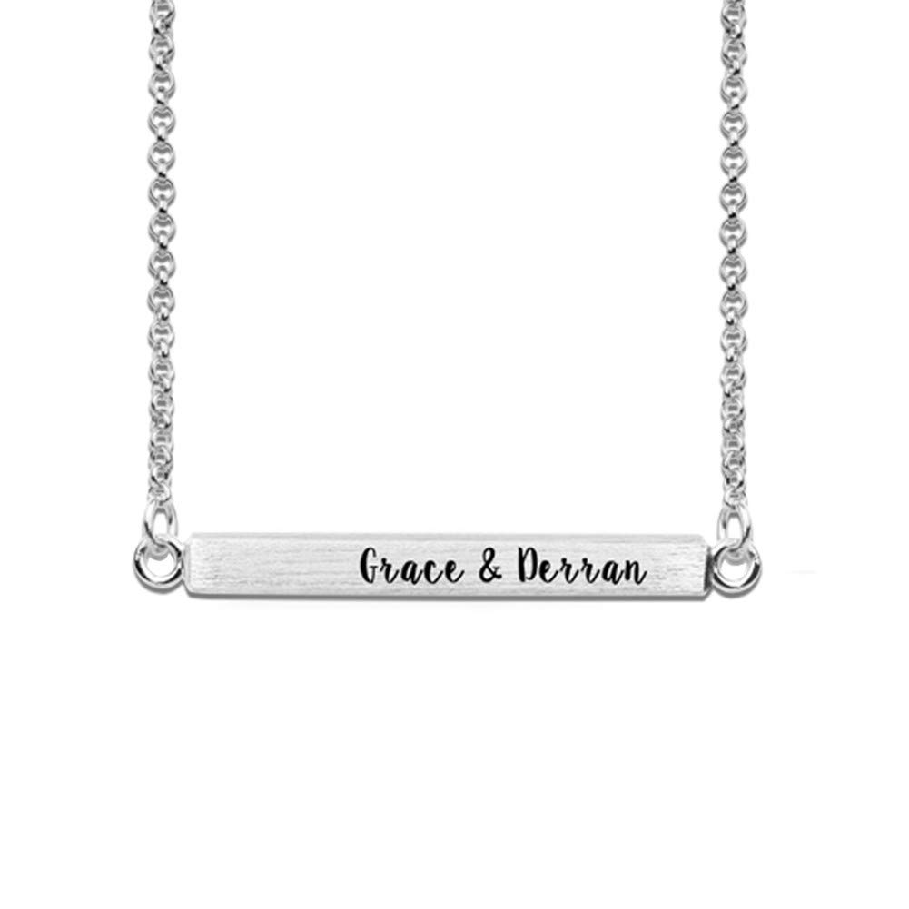 Getname Necklace 925 Sterling Silver Personalized 4 Sided Horizontal 3D Bar Necklace Custom Made Name Text Engraved