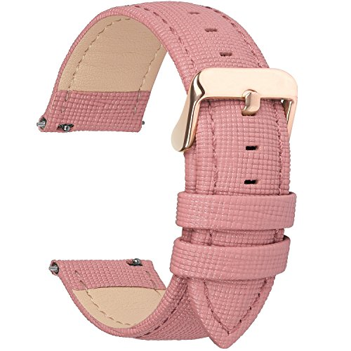- 6 Colors for Quick Release Leather Watch Band, Fullmosa Cross Genuine Leather Replacement Watch Strap with Stainless Metal Clasp 22mm Pink