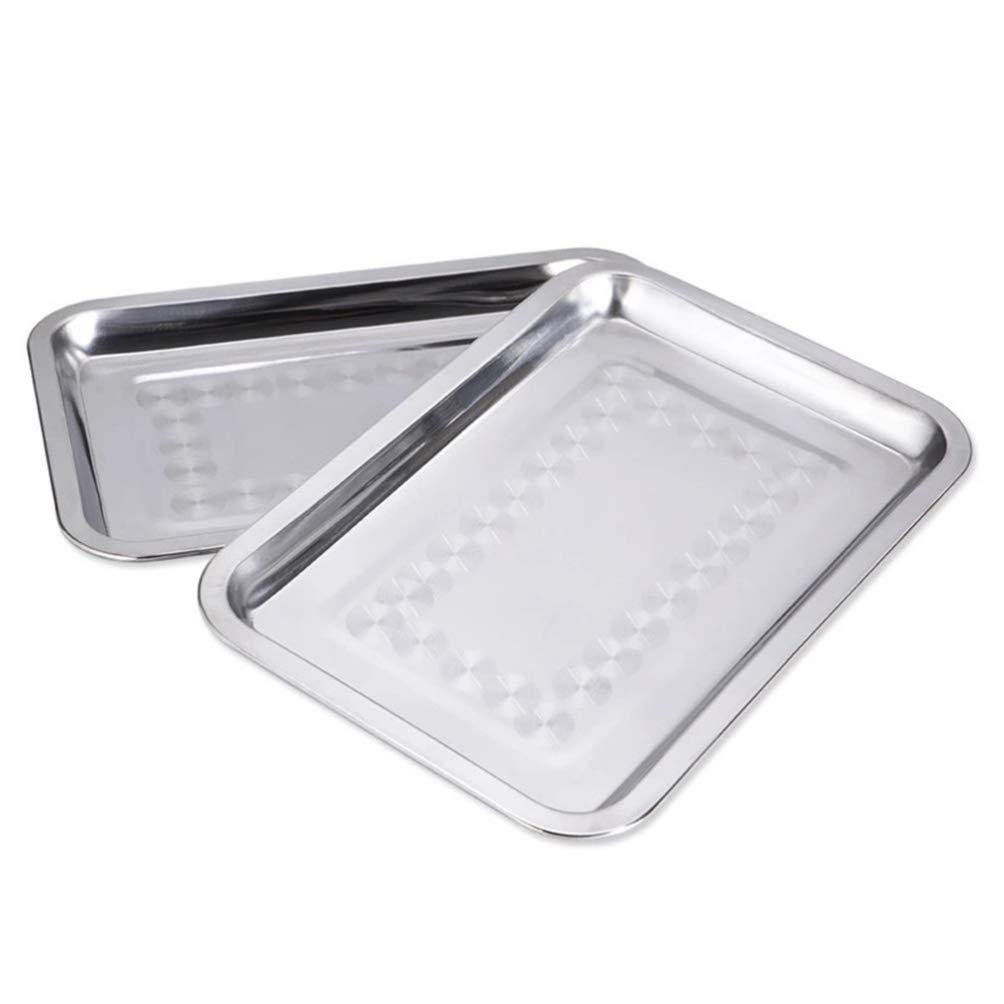 Yardwe 2PCS Stainless Steel Baking Pan Toaster Oven Pan Tray Thickened Rectangular Food Serving Tray (36 x 27 cm)
