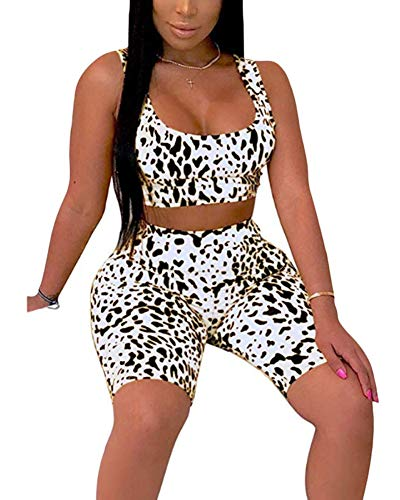 Womens Two Piece Shorts Outfits - Sexy Bodycon Athletic Crop Top Pants Tracksuit Sets Party Clubwear Workout Jumpsuits Rompers White -