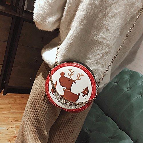 GuoFeng Nuevo Bolso Redondo Lindo Coreano, Bolso de Cadena Simple del Hombro, Paquete del Modelo. (Color : Purple Monkey) Beige Reindeer