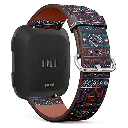 (Replacement Leather Strap Printing Wristbands Compatible with Fitbit Versa - Dark Multicolor Tribal Pattern with Fitbit Fancy Doodle Aztec Elements)