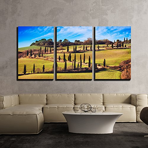 (wall26 - 3 Piece Canvas Wall Art - Cypress Trees Scenic Road. Siena, Tuscany, Italy. - Modern Home Decor Stretched and Framed Ready to Hang - 16