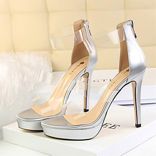z&dw Zapatos de zapato sexy con estilo impermeable plataforma de personalidad hueca transparente una palabra con sandalias Plata