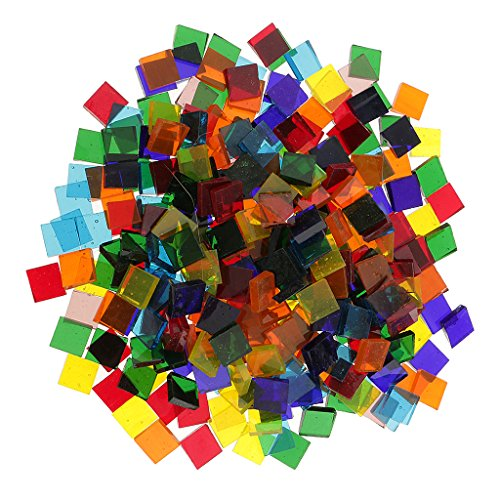 Jili Online 250 Pieces Square Shape Mixed Color Clear Glass Mosaic Tiles Tessera for Mosaic Making Crafts Supplies 10x10mm
